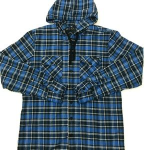 Oakley Mens Hooded Flannel Shirt Long Sleeve Plaid